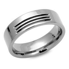 Moderner Ring Titan 7mm breit, mit 3 Fräsungen