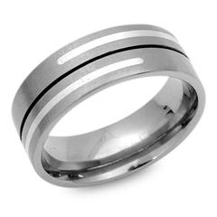 Moderner Ring Titan matt mit Einlage Silber