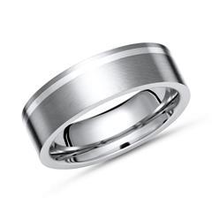 Eleganter Ring Titan matt mit Einlage Silber
