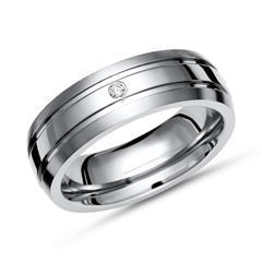 Moderner teilpolierter Ring Titan mit Diamant