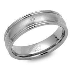 Moderner Ring Titan polierte Kanten & Diamant