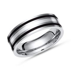 Exklusiver Ring Titan mit Einlage Silber