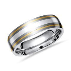 Exklusiver Ring Titan Gold- und Silbereinlagen