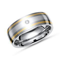 Ring Titan mit Gold und Silber Einlage + Diamant