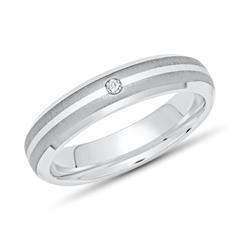 Moderner Ring Titan Einlage Silber 4mm & Diamant