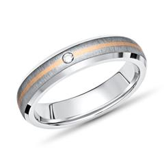 Exklusiver Ring Titan Einlage Gold 4mm & Diamant