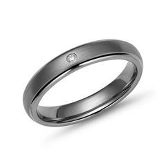 Exklusiver Ring Titan 4mm Kanten poliert Diamant
