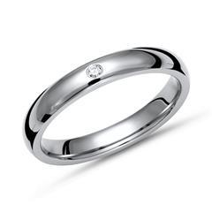Glänzender Ring Titan in 3mm Breite mit Diamant