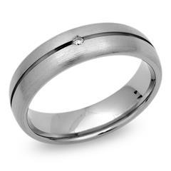 Exklusiver Ring Titan mit Glanzrille & Diamant