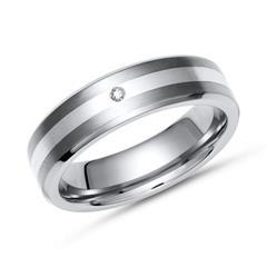 Moderner Ring Titan Diamant & Einlage Silber