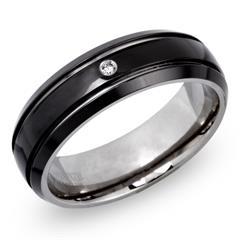Ring Titan mit 2 Glanzrillen und Diamant 0,02 ct