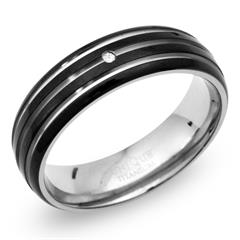 Ring Titan Ionic Black Plating Diamant 0,02 ct
