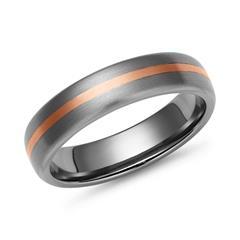 Matter Titan Ring mit 585 Rotgold Einlage