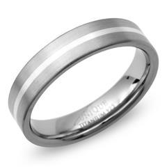 Matter Titan Ring mit 925 Silber Einlage
