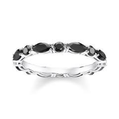 Ring Schwarze Steine für Damen aus 925er Silber