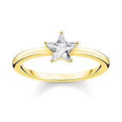 Damenring Funkelnder Stern aus vergoldetem 925er Silber