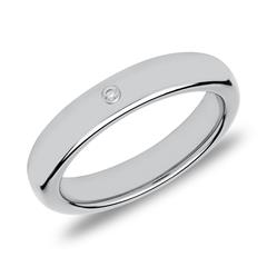 Gravierbarer Ring aus Wolfram mit Zirkonia