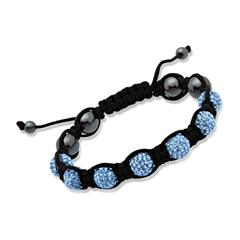 Glücksarmband blaue Kristalle & Hämatit