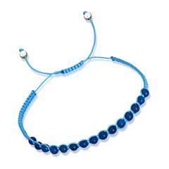 Blaues Textilarmband mit Silberelementen