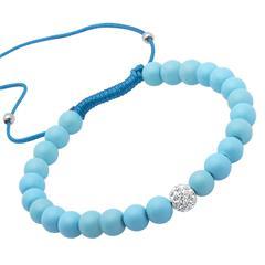 Armband Textil Glasperlen und Zirkonia