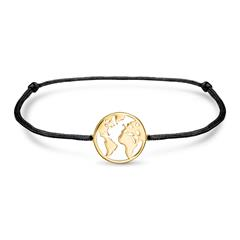 Textile Bracelet World Map In 925 Silver, Black-Gold