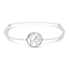 Bracelet World In Grey Textile And Sterling Silver