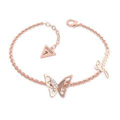 Schmetterlings Armband für Damen aus Edelstahl, rosé