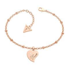 Gravierbares Damenarmband Herz aus Edelstahl, rosé