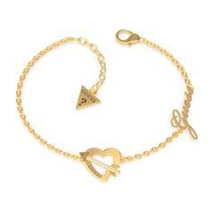 Herzarmband Amors Pfeil für Damen aus Edelstahl, gold