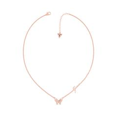 Damenkette Schmetterling aus Edelstahl, rosévergoldet
