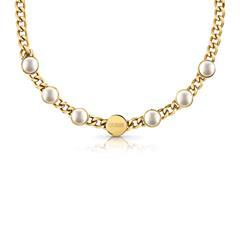 Damen Kette aus vergoldetem Edelstahl mit Perlen
