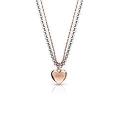 Damen Kette Herz aus Edelstahl teilweise rosévergoldet