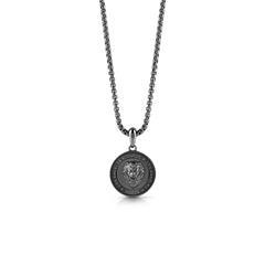 Gravur Herrenkette Coin Löwe aus Edelstahl, schwarz
