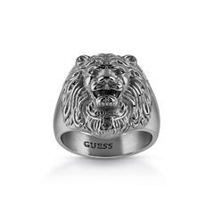 Herren Ring Lion Head aus Edelstahl, schwarz