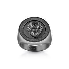 Ring Lion Head Coin für Herren aus schwarzem Edelstahl