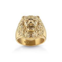Ring Löwenkopf für Herren aus vergoldetem Edelstahl