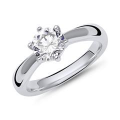 Verlobungsring Silber facettierter Zirkonia