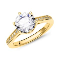 Engagement Ring Sterling Silver, Gold Plated with Zirconia