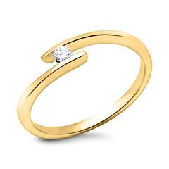 585er Gelbgold Verlobungsring mit Stein 0,05 ct.