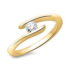 14K Gelbgold Verlobungsring mit Brillant 0,25ct.