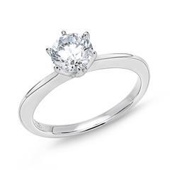 Silberring Verlobung Sterling Zirkonia 5,9 mm