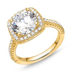 Zirconia set ring in 925 silver, gold-plated