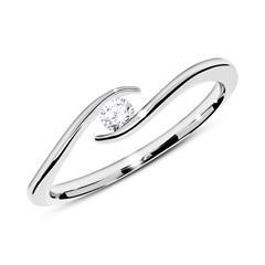 14K Weißgold Verlobungsring mit Diamant 0,10 ct.