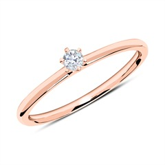 18K Roségold Ring mit Diamant 0,10 ct.
