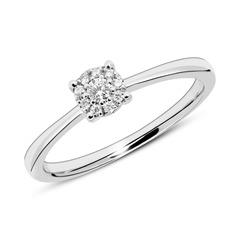 Gravierbarer Ring aus 585er Weißgold mit Diamanten