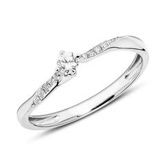 585er Weißgoldring mit Diamanten