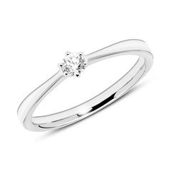14K Weißgold Verlobungsring mit Diamant gravierbar