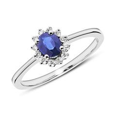 Verlobungsring aus 585er Weißgold mit Saphir Diamanten