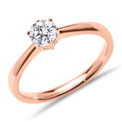 585er Roségold Verlobungsring mit Diamant, lab-grown