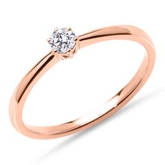 18K Pink Gold Ring With Lab-Grown Diamond